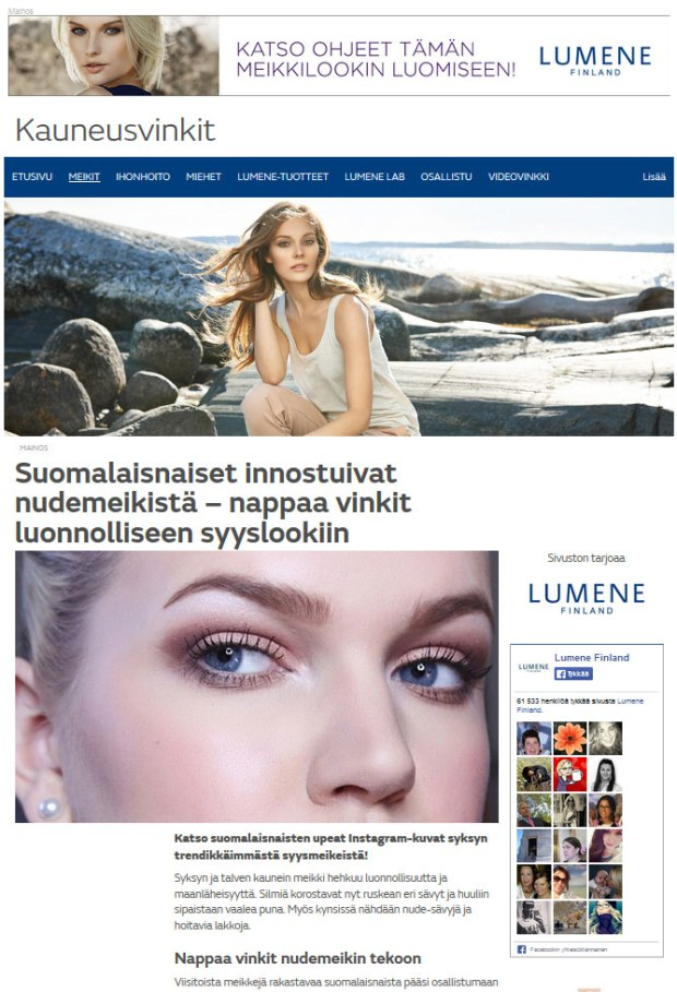 Esimerkki sisältöyhteistyöstä: Kauneusvinkkejä Lumenen sivustolla.