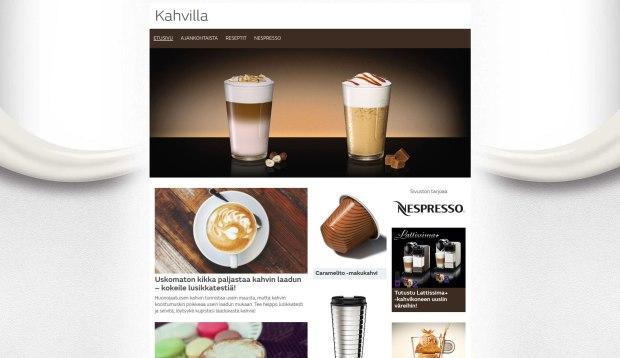 Esimerkki sisältöyhteistyöstä: Nespresson teemasivut MTV.fissä.